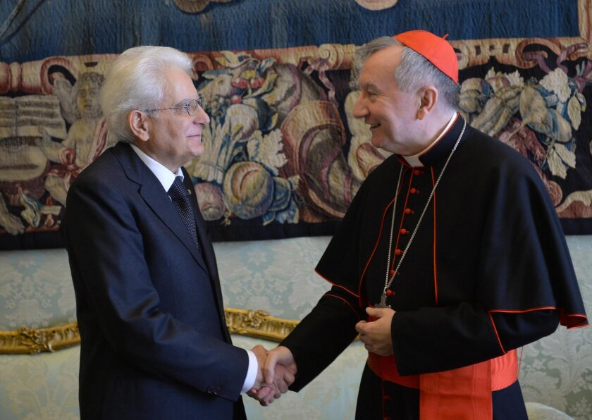 Italian President Sergio Mattarella, left, with Vatican Secretary of State Cardinal Pietro Parolin at the Vatican.
