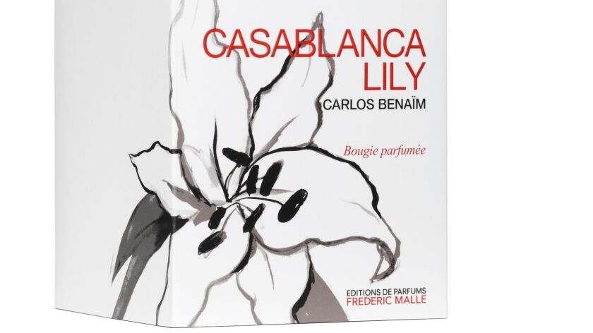 Los Angeles-based illustrator Konstantin Kakanias designed the sleeve for the Editions de Parfums Frédéric Malle Casablanca Lily candle.