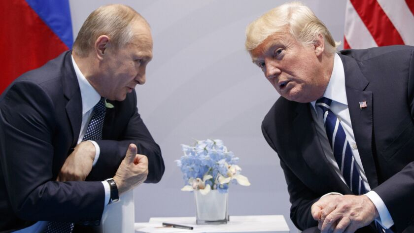 President Trump and Russian leader Vladimir Putin at the G-20 summit in Hamburg, Germany, in 2017.