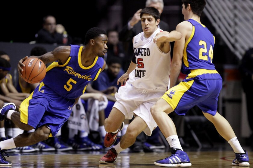 Narbeh Ebrahimian (25) of San Diego State defends against  Kareem Nitoto (5) of UC Riverside during the second half of action as the Aztecs took on the Highlanders at Viejas arena.