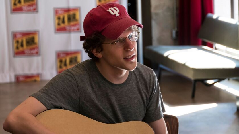 Jesse Eisenberg sings during a Monday morning rehearsal with the cast.