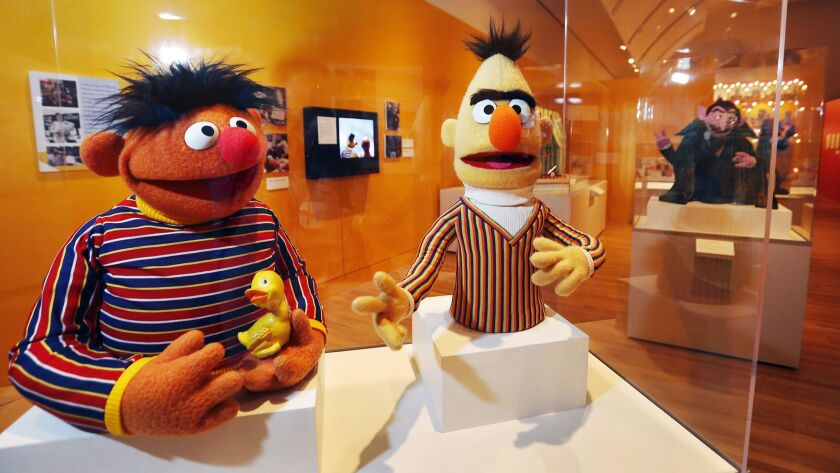 "Ernie and Bert at The Skirball Cultural Center's ""The Jim Henson Exhibition: Imagination Unlimited."""