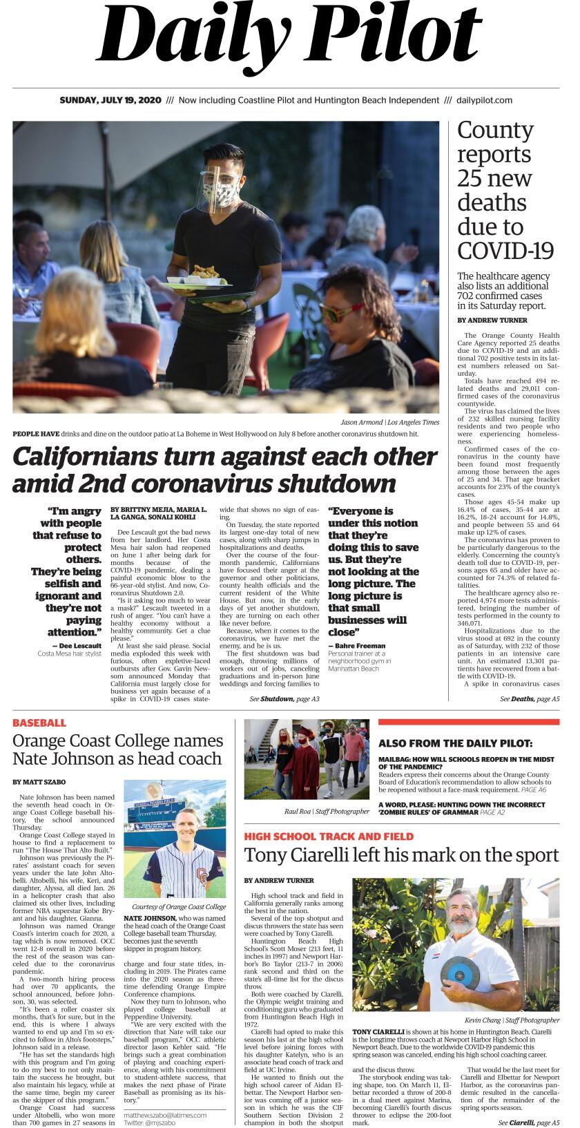 Daily Pilot e-Newspaper: Sunday, July 19, 2020