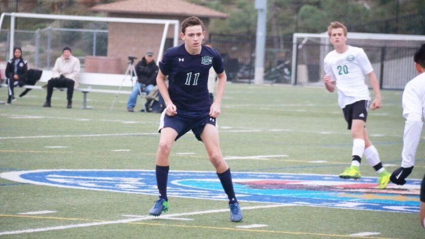 Del Norte High School soccer player Josh Chambers in action.