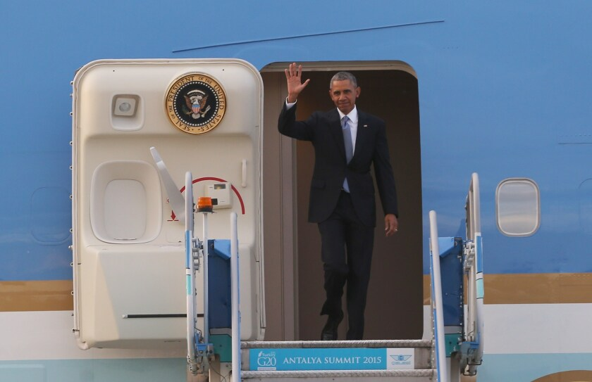 President Obama arrives in Turkey on Sunday for the G20 leaders summit. Leaders from the world's top 20 industrial powers are meeting in Turkey, seeking to overcome differences on issues including the Syria conflict, the refugee crisis and climate change.
