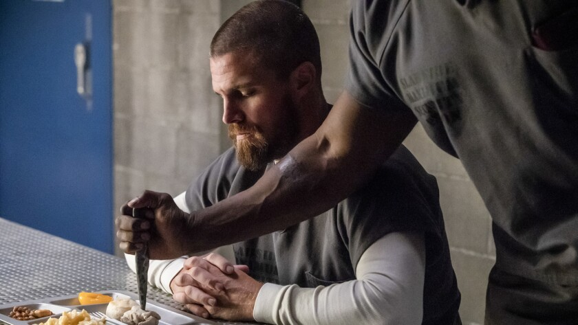 "Oliver (Stephen Amell) is in a maximum security prison in the season premiere of ""Arrow"" on The CW."