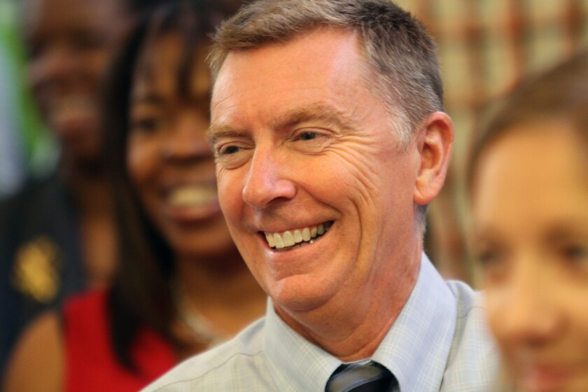 Los Angeles Unified School District Supt. John Deasy said he credits district teachers for the steady performance on test scores.