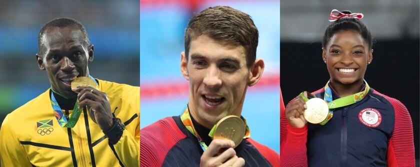 Usain Bolt, Michael Phelps y Simone Biles.