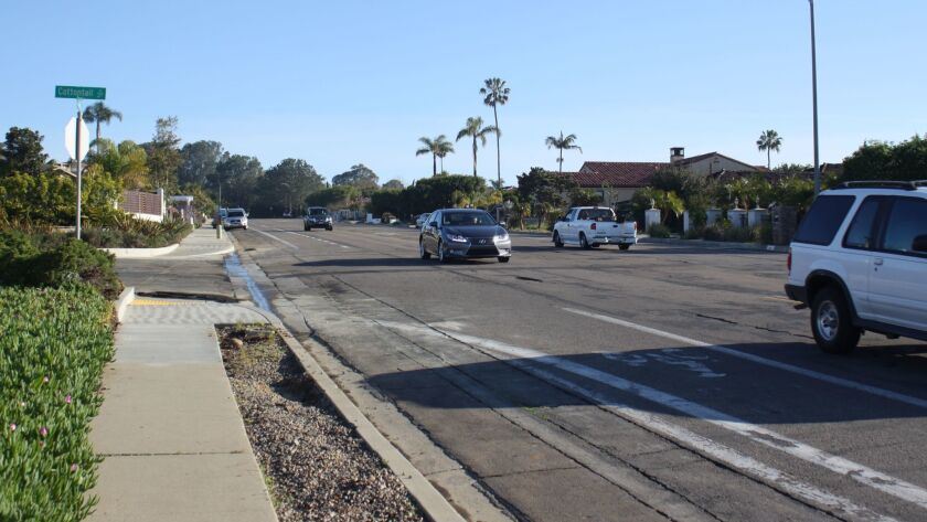 La Jolla Mesa Drive is often used by commuters as an alternative to taking La Jolla Boulevard to get into The Village. A roundabout proposed for this intersection would ideally slow speedy drivers down.