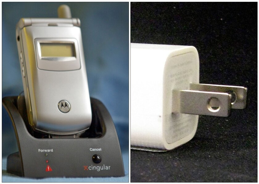 "FILE -This combination of Associated Press file photos shows, left, a Cingular ""Fast Forward"" cradle and Motorola mobile phone in New York on Tuesday Nov. 4, 2003, and an Apple ultracompact USB Power Adapter, on Friday, Sept. 19, 2008, in New York. The average amount of electricity consumed by U.S."