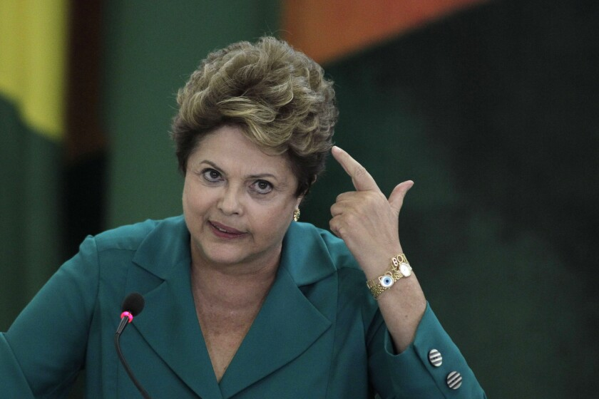 Edward Snowden revealed alleged U.S. spying on Brazilian President Dilma Rousseff, causing a chill in relations between the two countries. Above, Rousseff at a ceremony at the presidential palace in Brasilia, Brazil.