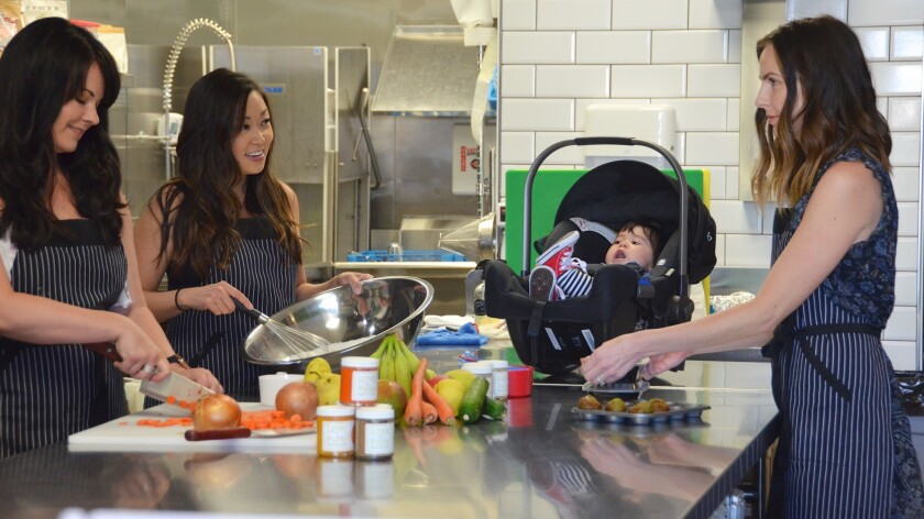 """Mike Close coined the term: """"Momtreprenuers"""" of Love & Puree. From left Melissa Chon, Allison Beauch"""