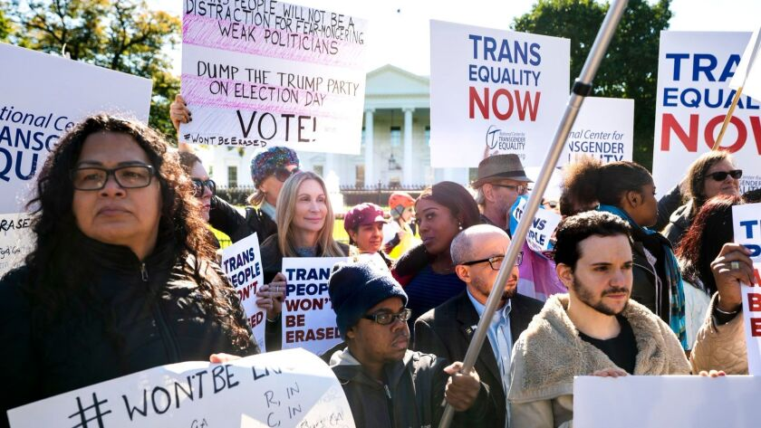 Protest over Transgender rights at the White House, Washington, USA - 22 Oct 2018
