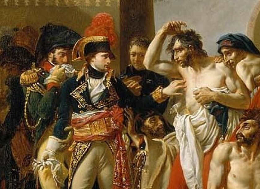 Napoleon ostentatiously touches a plague victim in this detail of a painting copied from Antoine-Jean Gros.