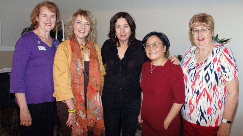 La Crescenta Woman's Club President Marianne Jennings, from left, with authors Patricia Smiley, Deni