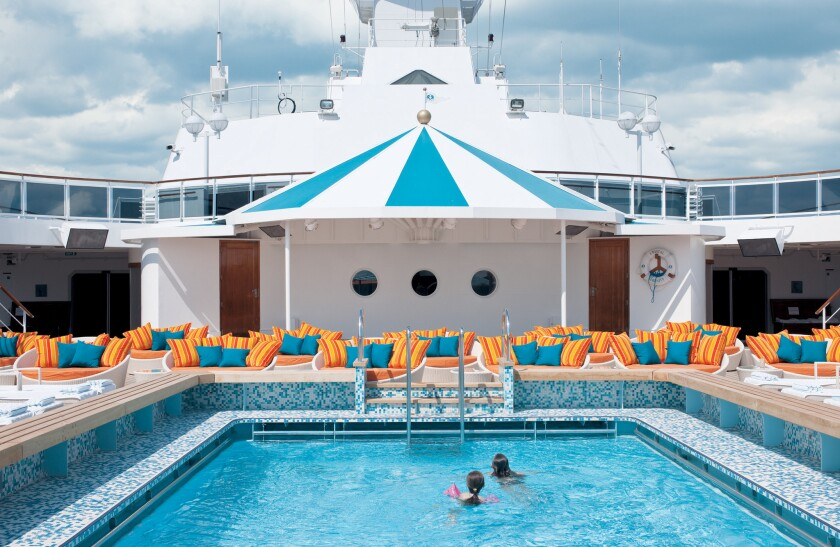 The sparkling Seahorse pool on the Crystal Serenity -- so colorful, so invi