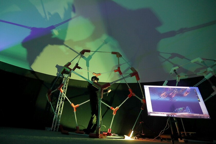 """LOS ANGELES, CALIF. - DEC. 22, 2018. Wisdome LA is a pop-up """"art park"""" that consists of five geode"""