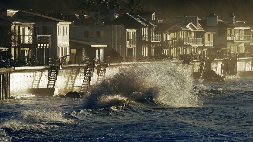 High surf near homes along Faria Beach in Ventura County