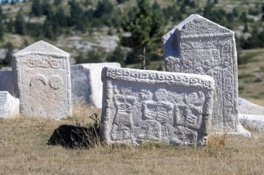 Medieval tombstones in the Balkans.