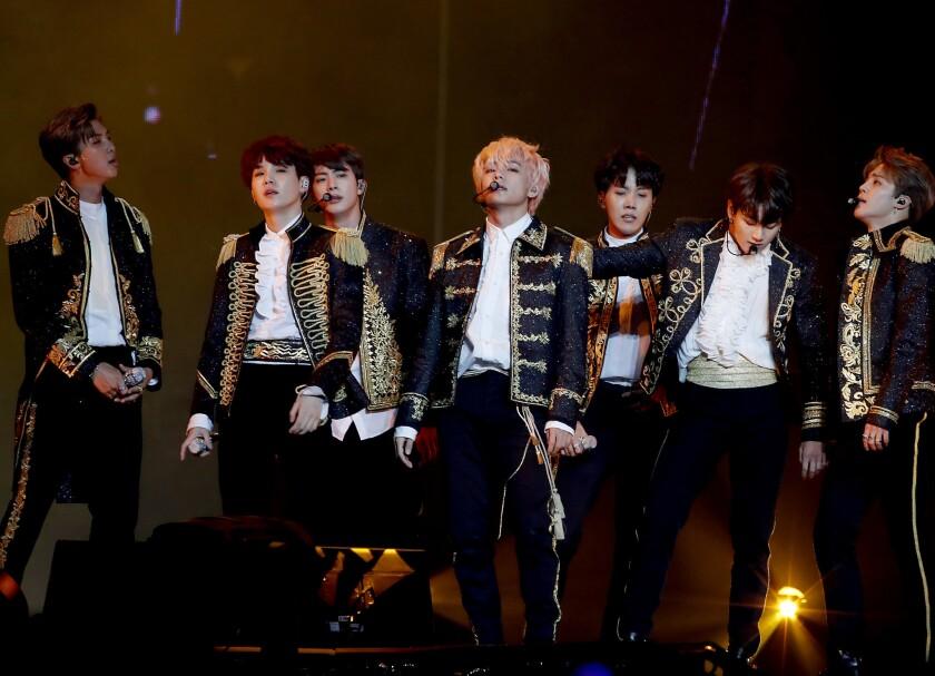 LOS ANGELES, CALIF. - SEP. 5, 2018. The Korean boy band BTS performs at Staples Center in Los Ang