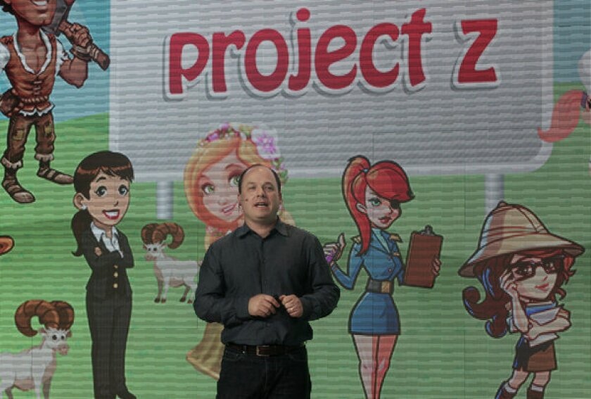 John Schappert at a Zynga news conference at the San Francisco company's offices.