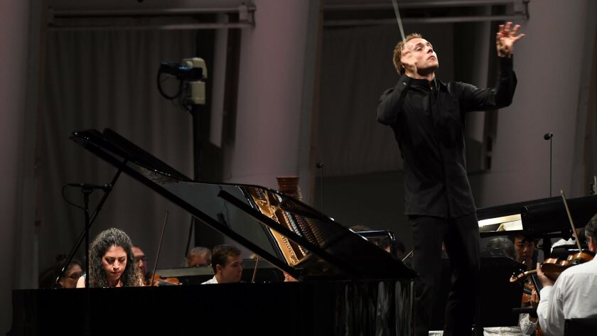 Conductor Vasily Petrenko and pianist Beatrice Rana appear at the Hollywood Bowl.