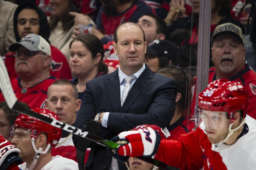 FILE - In this Jan. 16, 2020 file photo, Washington Capitals head coach Todd Reirden watches during the second period of an NHL hockey game against the New Jersey Devils in Washington. The Washington Capitals have fired Reirden after a second consecutive first-round exit in the playoffs. General manager Brian MacLellan announced the move Sunday, Aug. 23 three days after the Capitals lost to former coach Barry Trotz's New York Islanders in a five-game series. (AP Photo/Al Drago, File)