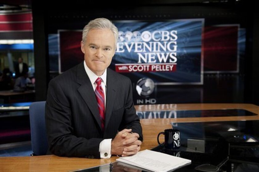 """In this photo released by CBS, """"CBS Evening News"""" anchor Scott Pelley, is shown. Pelley replaces Katie Couric, Monday, June 6, 2011, hoping to pull CBS' daily newscast out of the ratings cellar where it lies behind NBC's """"Nightly News"""" and ABC's """"World News."""" (AP Photo/CBS, John Filo) MANDATORY CREDIT; NO ARCHIVE; NO SALES; FOR NORTH AMERICAN USE ONLY."""