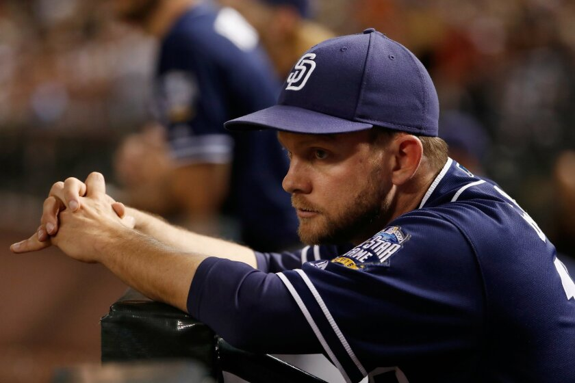 Manager Andy Green #14 of the San Diego Padres watches from the dugout during the MLB game against the Arizona Diamondbacks at Chase Field on May 27, 2016 in Phoenix, Arizona. (Christian Petersen/Getty Images)