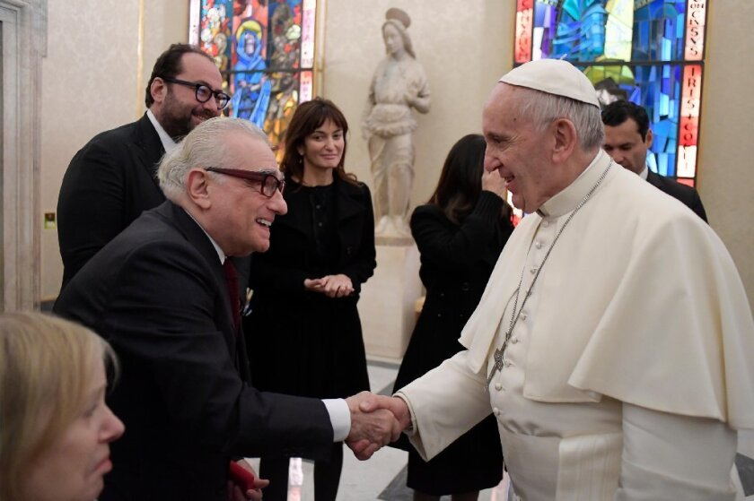 "Martin Scorsese meets Pope Francis during a trip to Rome to show his latest film, ""Silence."""