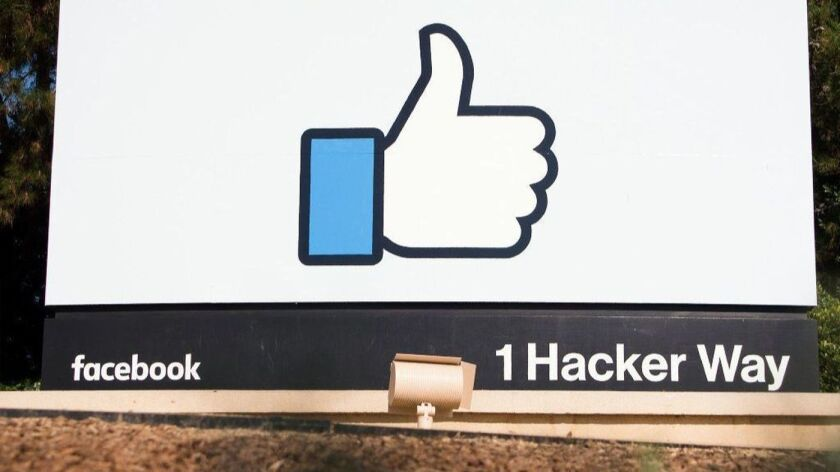 A thumbs-up sign at Facebook's headquarters.