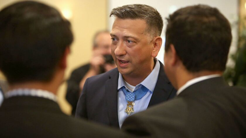 Staff Sergeant David Bellavia, the only living Medal of Honor recipient from the Iraq War, speaks to