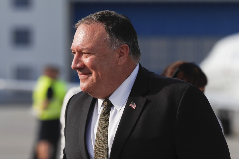 U.S. Secretary of State Mike Pompeo arrives at the airport in Prague, Czech Republic, Tuesday, Aug. 11, 2020. U.S. Secretary of State Mike Pompeo is in Czech Republic at the start of a four-nation tour of Europe. Slovenia, Austria and Poland the other stations of the trip. (AP Photo/Petr David Josek, Pool)