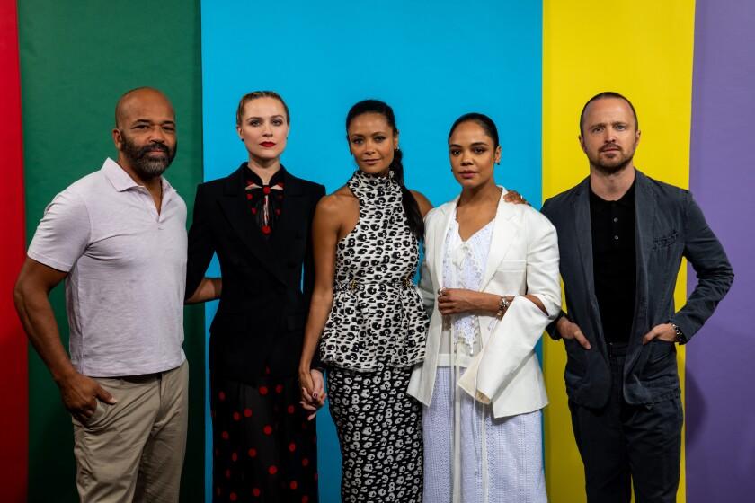 """Westworld"" stars Jeffrey Wright, left, Evan Rachel Wood, Thandie Newton, Tessa Thompson and Aaron Paul."