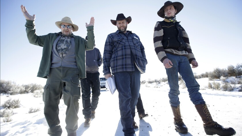Ammon Bundy, center, at the Malheur National Wildlife Refuge near Burns, Ore., during the occupation.