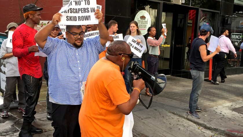 LOS ANGELES - SEPT. 22, 2017 - Protesters demonstrated against construction of a 33-story apartment