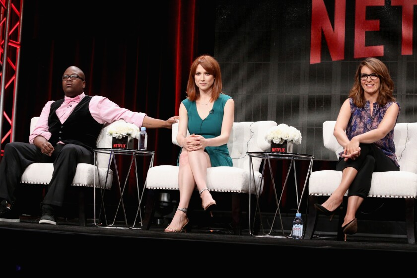 """""""Unbreakable Kimmy Schmidt"""" stars Tituss Burgess, Ellie Kemper and co-creator/executive producer Tina Fey speak during a panel discussion at the Netflix portion of the 2015 Summer TCA Tour at The Beverly Hilton Hotel on July 28, 2015."""