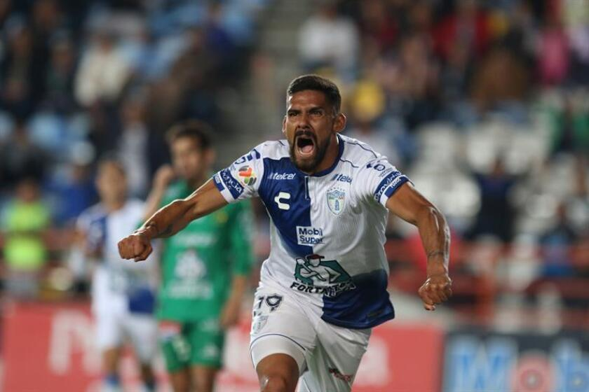 The soccer player Franco Jara de Pachuca celebrates a goal in a match between Pachuca and Leon at the Hidalgo stadium in the city of Pachuca, Mexico. EPA-EFE FILE/David Martínez Pelcastre