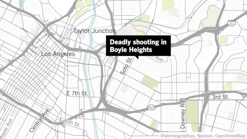 A map of Los Angeles' Eastside with a label pointing to location of a shooting in Boyle Heights