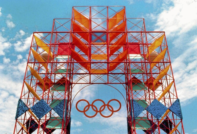 Deborah Sussman and her collaborators relied on a hybrid of architecture and graphic design for the 1984 L.A. Olympics, including this scaffolding tower.
