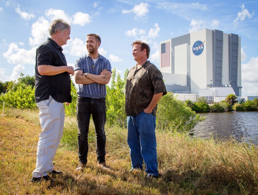 SEPTEMBER 29, 2018--KENNEDY SPACE CENTER, FLORIDA: Rick Armstrong (left) Ryan Gosling (middle) and