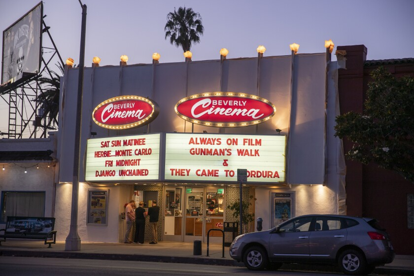 Exterior view of The New Beverly at 7165 Beverly Blvd, Los Angeles, July 15, 2019.