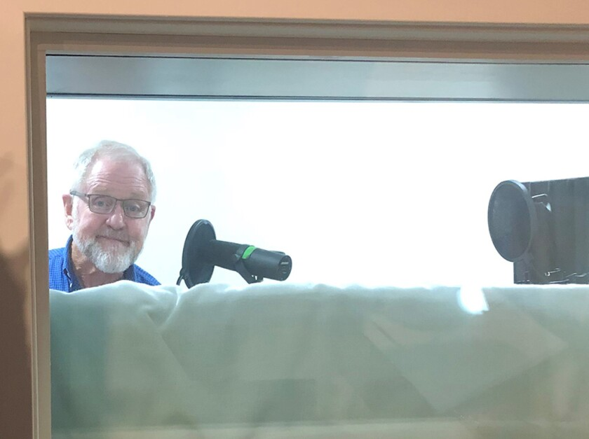 "Actor Ralph Johnson records for ""Miracle on 34th Street: A Musical Radio Play."""
