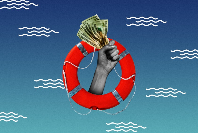 An illustration of a hand holding cash through a life raft.