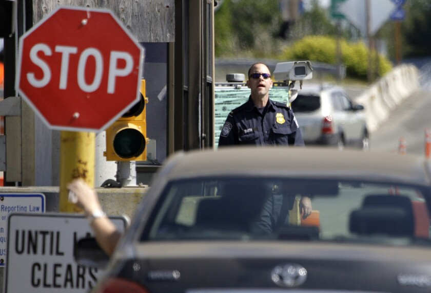The U.S.-Canada border crossing in Blaine, Wash., about 30 miles east of where shots were fired at U.S. border agents.