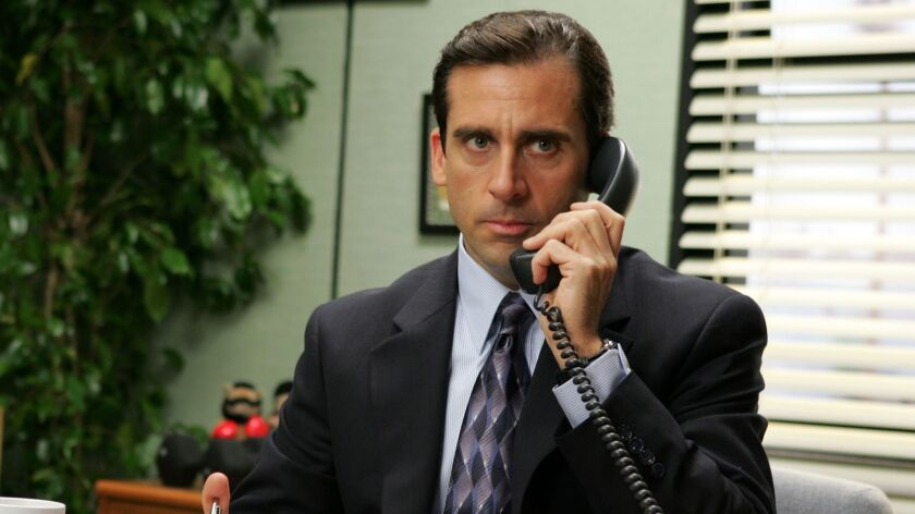 """Steve Carell appears in this scene from the series """"The Office,"""" which could be joining NBCU's streaming service next year."""