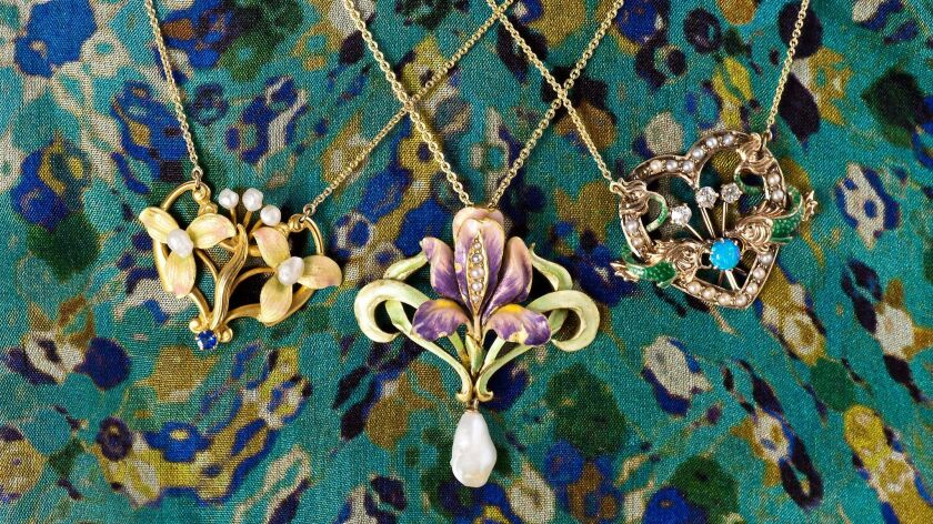 A selection of antique necklaces for sale at The Copper Canary in Carlsbad.