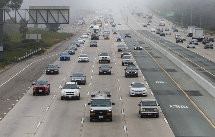 Commuters travel during morning commute hours along northbound Interstate 805