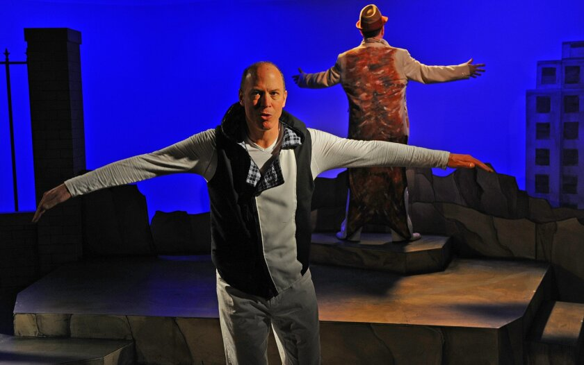 """Mike Sears as Silo the gay penguin and Steve Gunderson as Pale Male the red-tailed hawk in Diversionary's production of """"Birds of a Feather."""" CREDIT: Ken Jacques"""