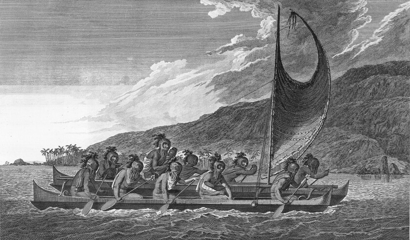 """A double canoe with masked men, some of whom may be priests, carrying idols. Engraving after pen, ink wash and watercolor over pencil by John Webber, 1779. Image from the book """"Paradise od the Pacific"""" by Susannah Moore."""